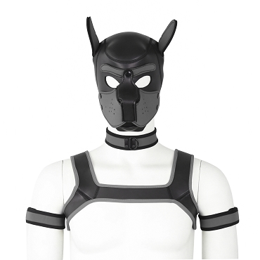 K9 Fun - Padded Latex Dog Mask - Puppy - Harness Set (5 pcs)
